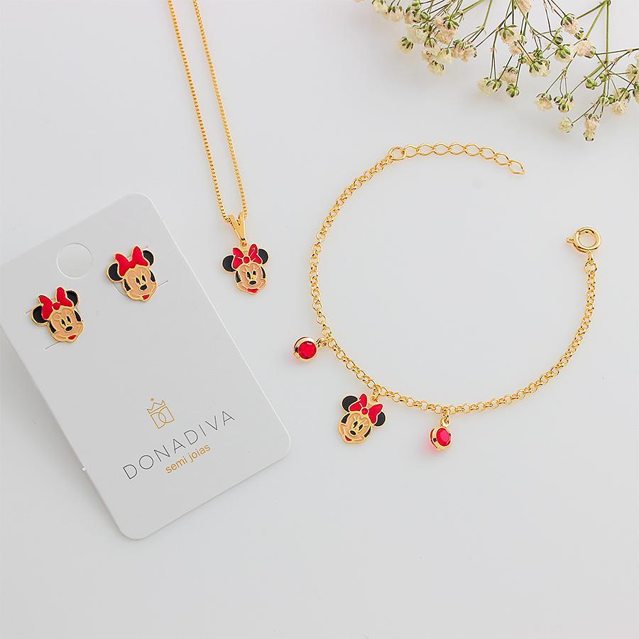 colar infantil Minnie esmaltado dourado