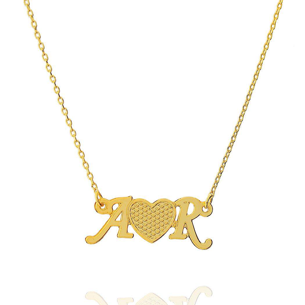 colar iniciais letras personalizado coração