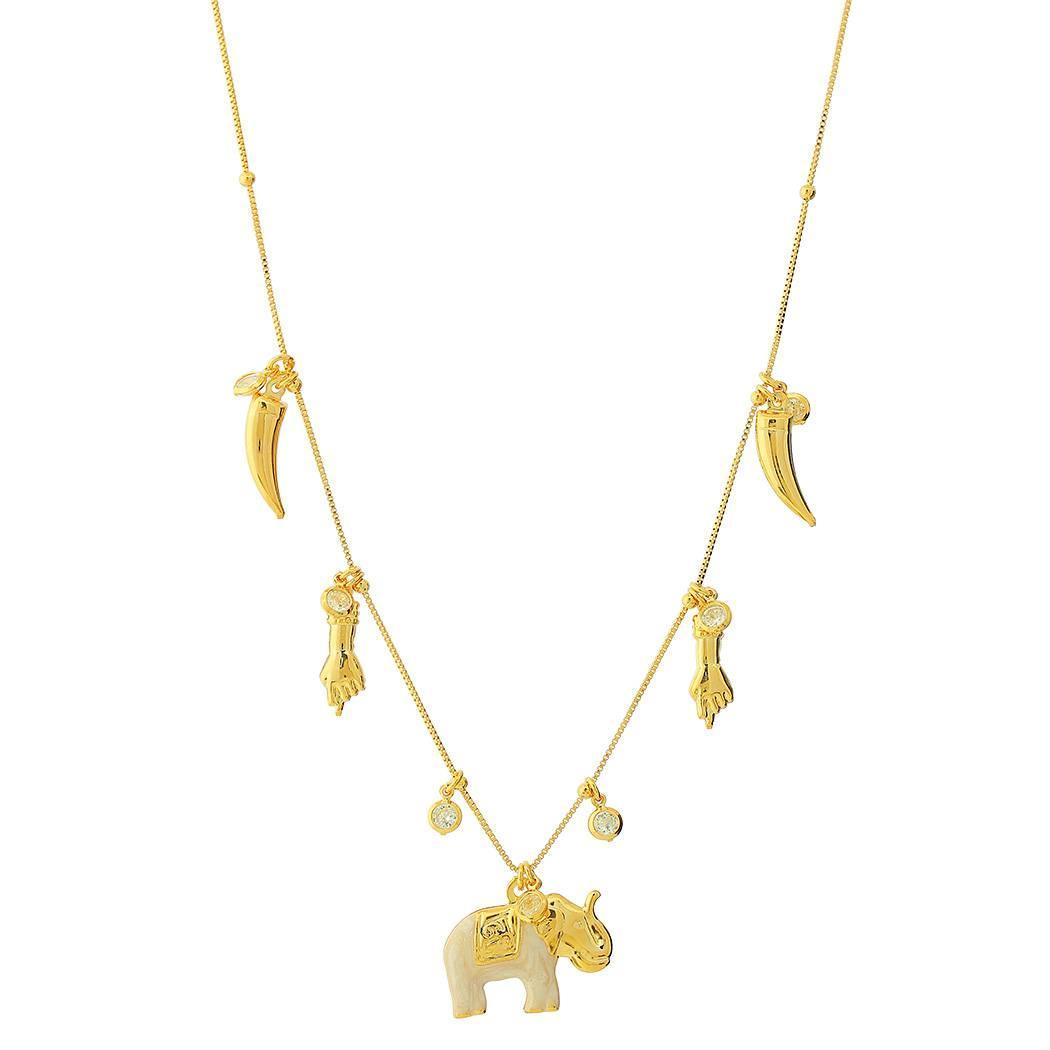 colar istambul elefante dente figa dourado