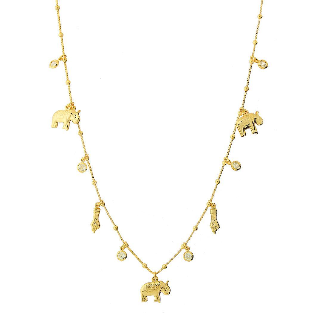 colar istambul elefante dente zircônia dourado