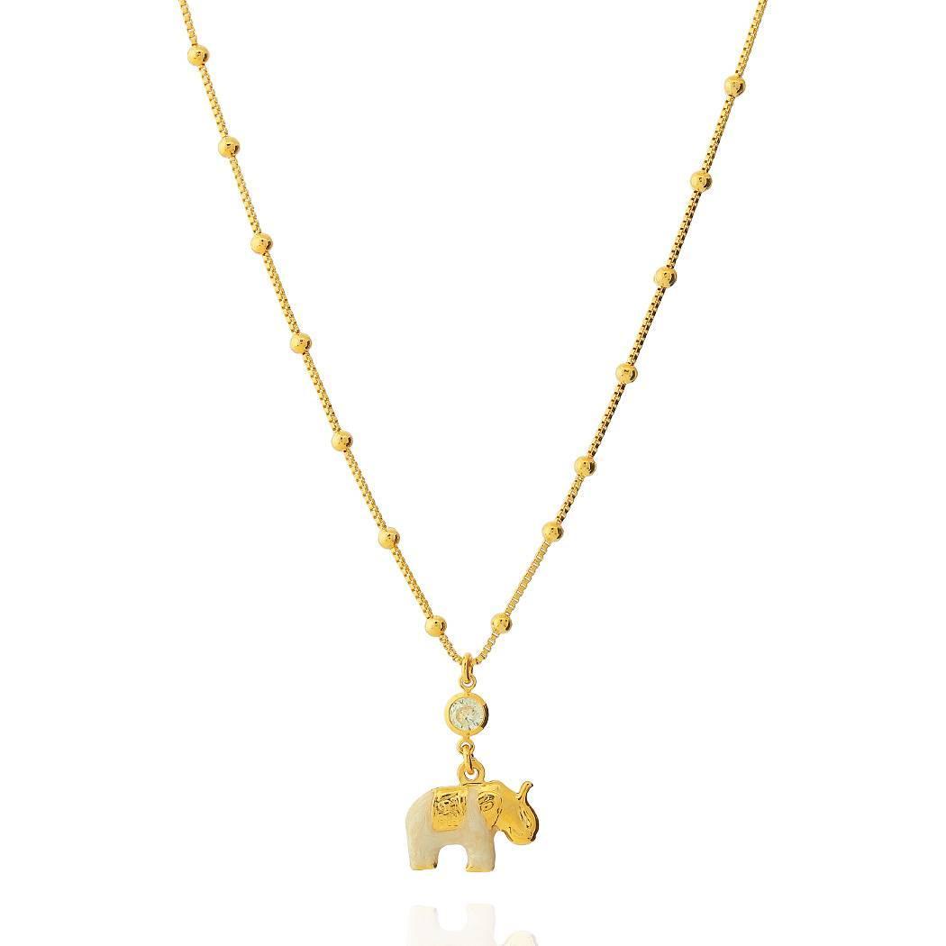 colar istambul elefante madrepérola zircônia dourado
