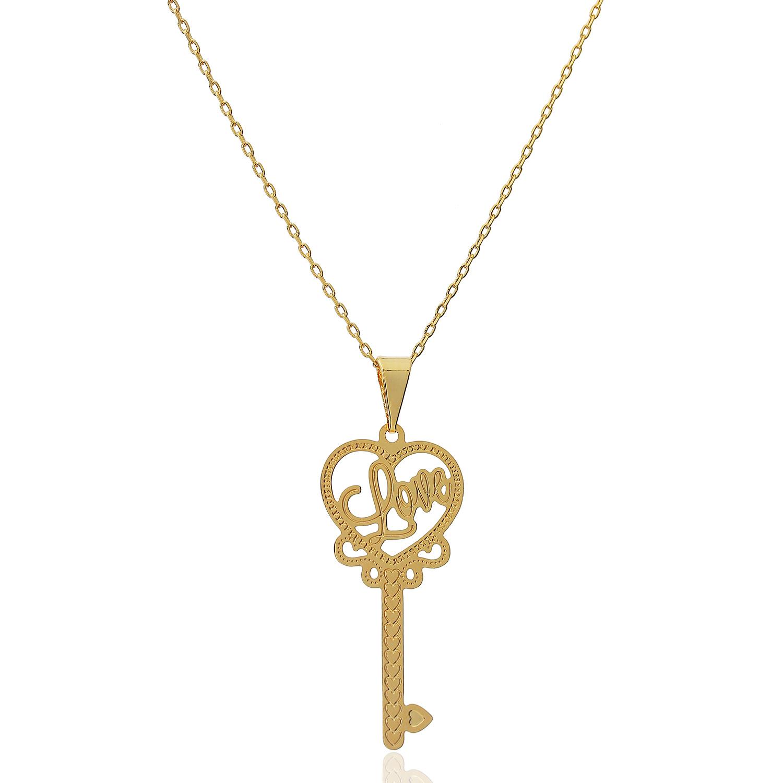 colar love chave coração dourado