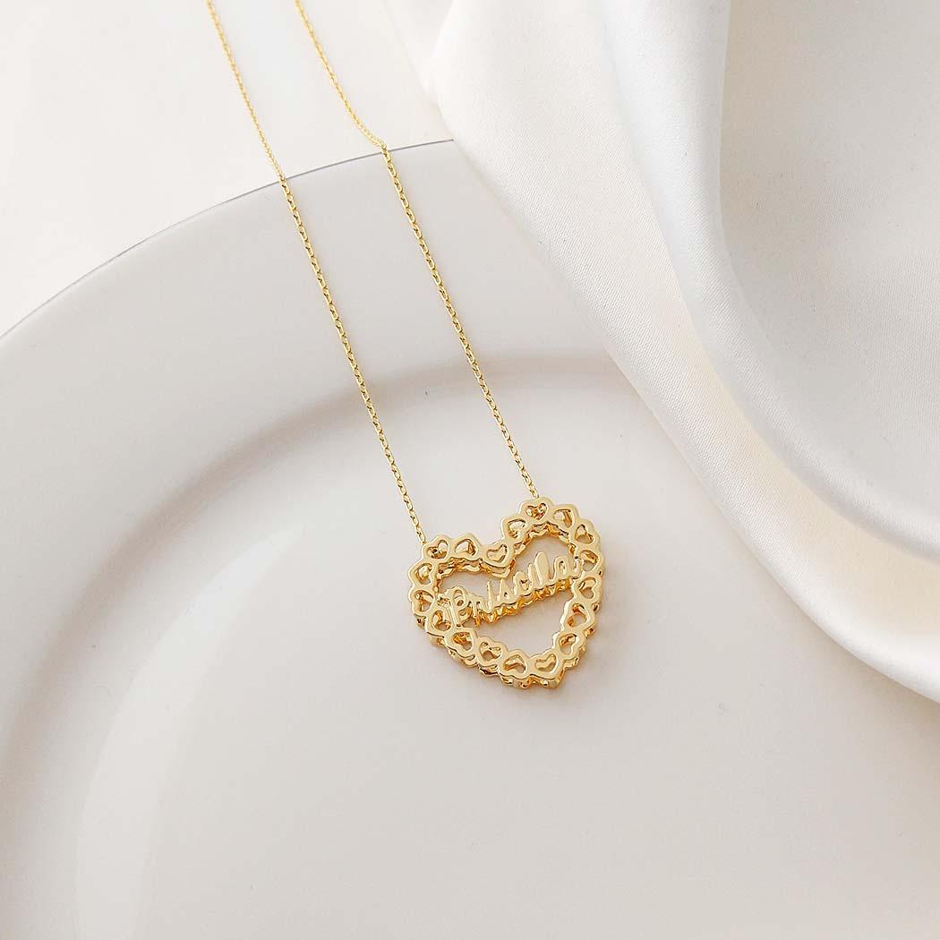 colar mandala personalizado nome coração dupla