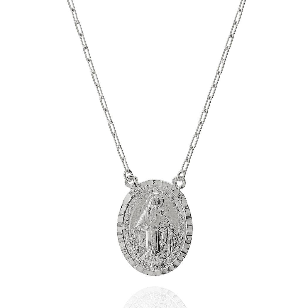 colar medalha Nossa Senhora Daiany Hank ródio claro