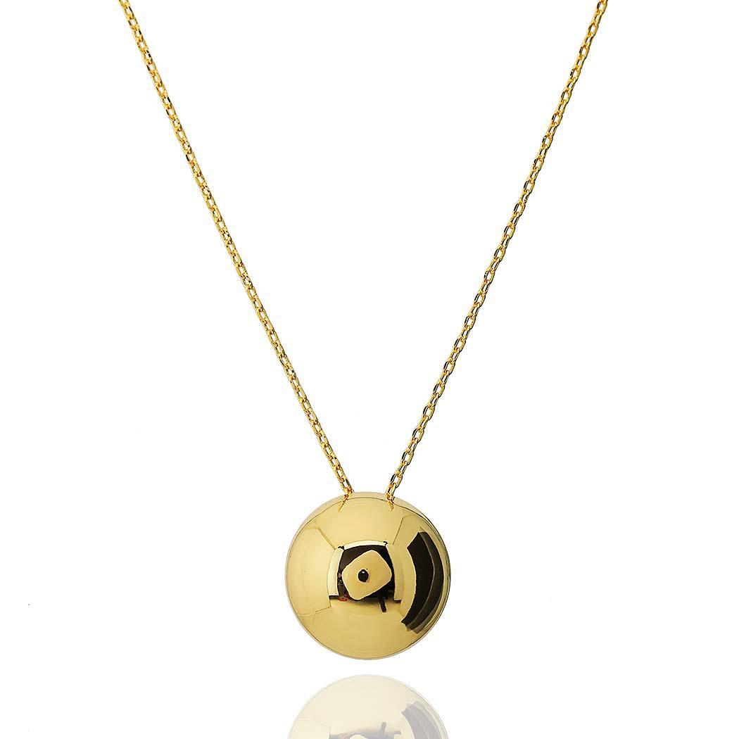 colar meia bola lisa 14 mm dourado