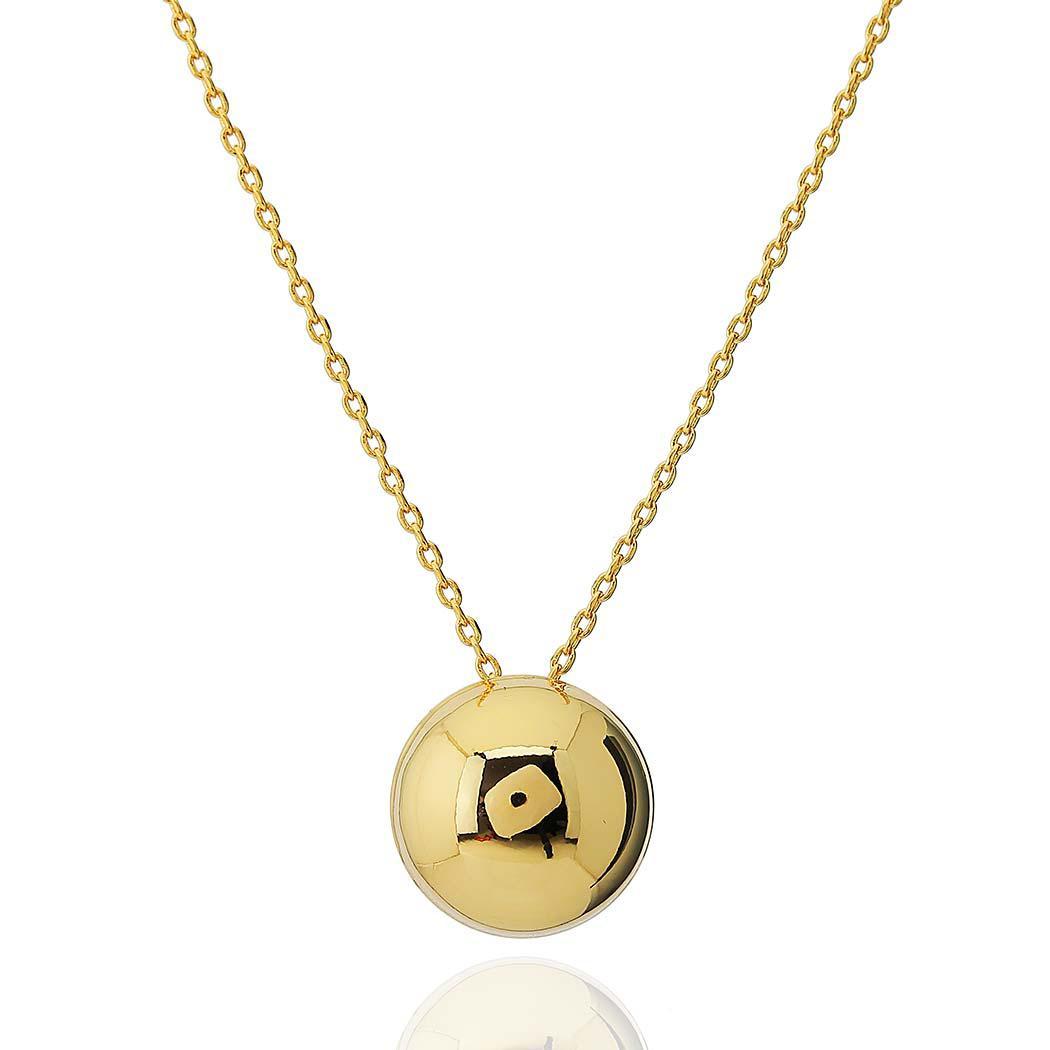 colar meia bola lisa 16 mm dourado