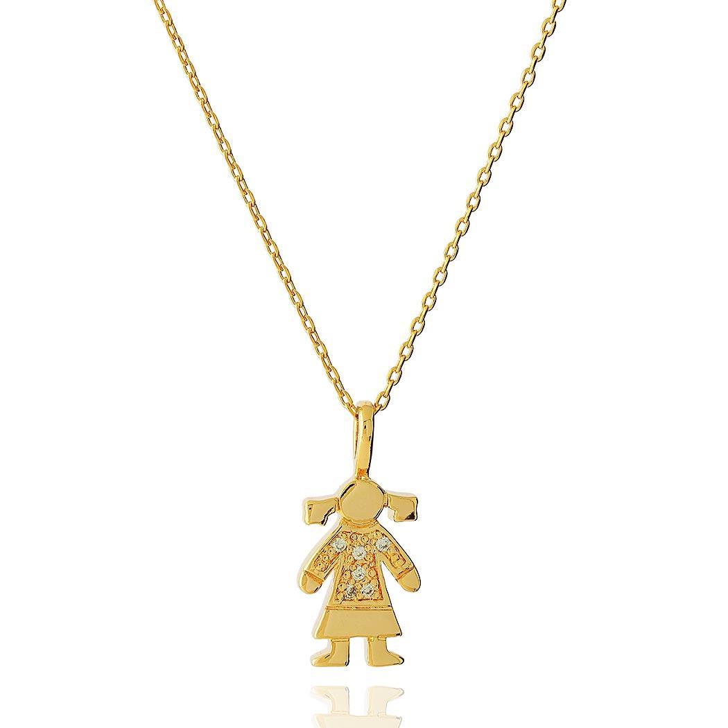 colar menina cravejado dourado