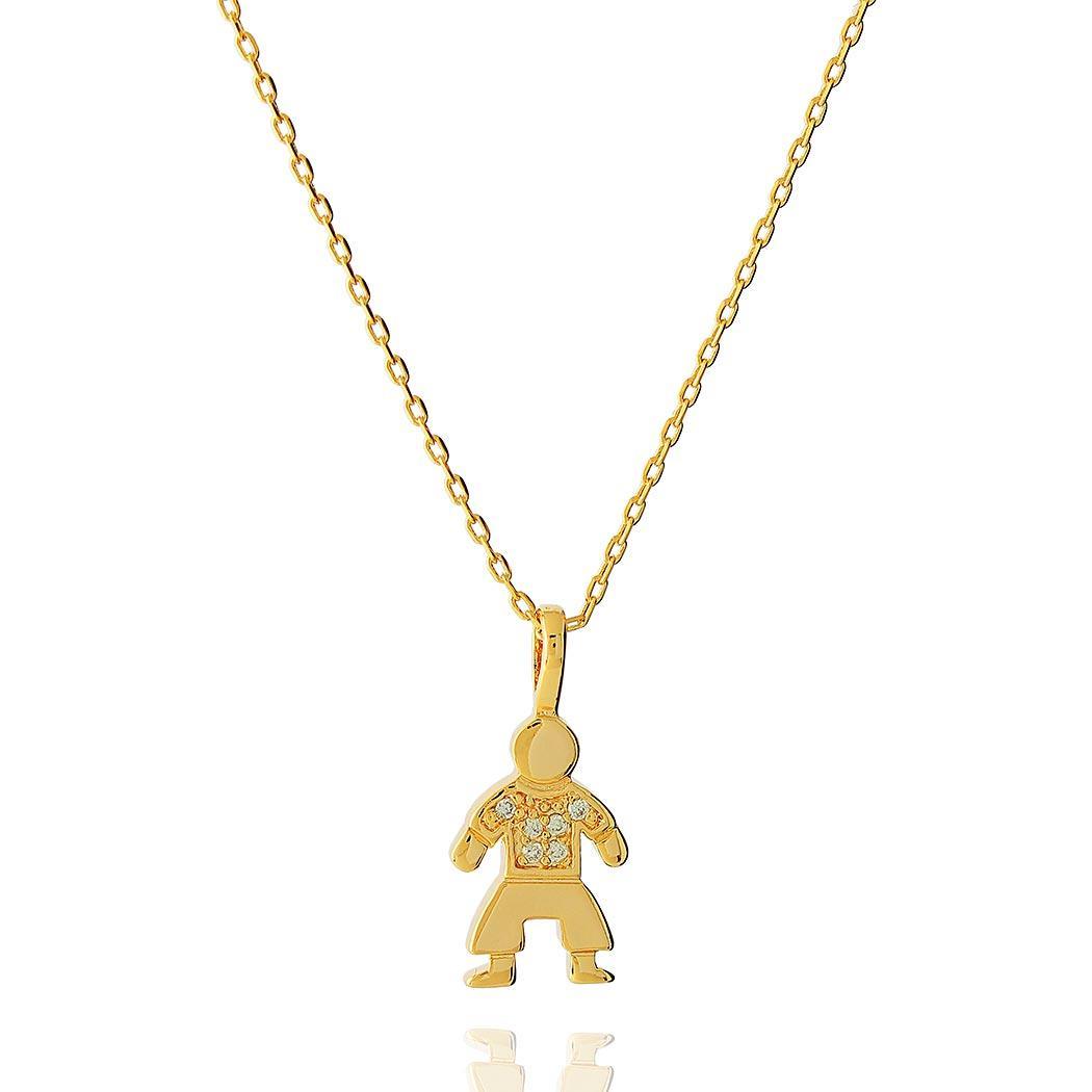 colar menino cravejado dourado