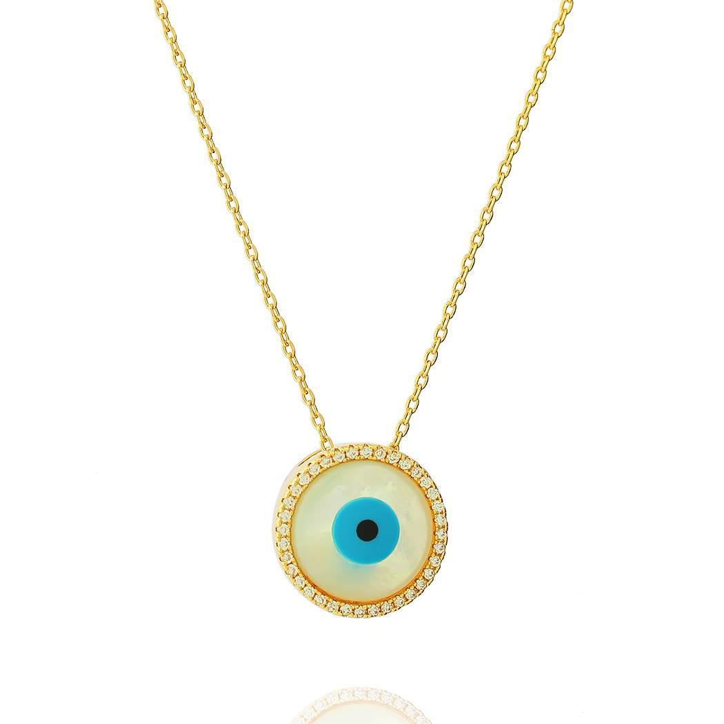 colar olho grego madrepérola zircônias dourado