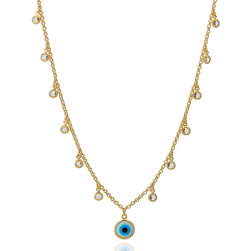 colar olho grego zircônias dourado