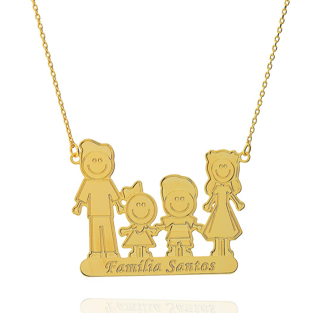 colar personalizado família bonecos