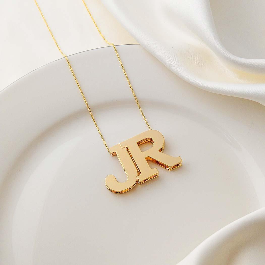 colar personalizado iniciais grandes duas letras