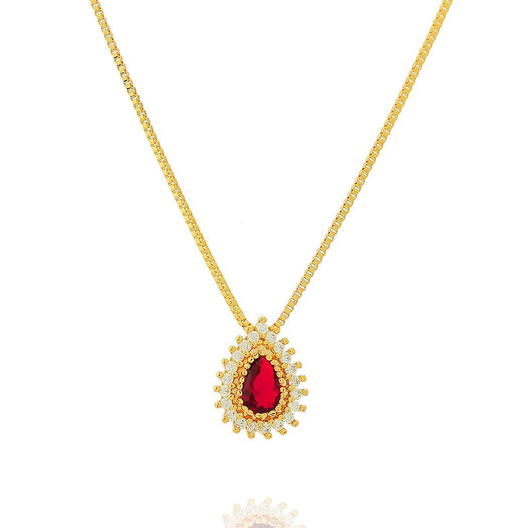 colar princesa gota zircônia rubi dourado