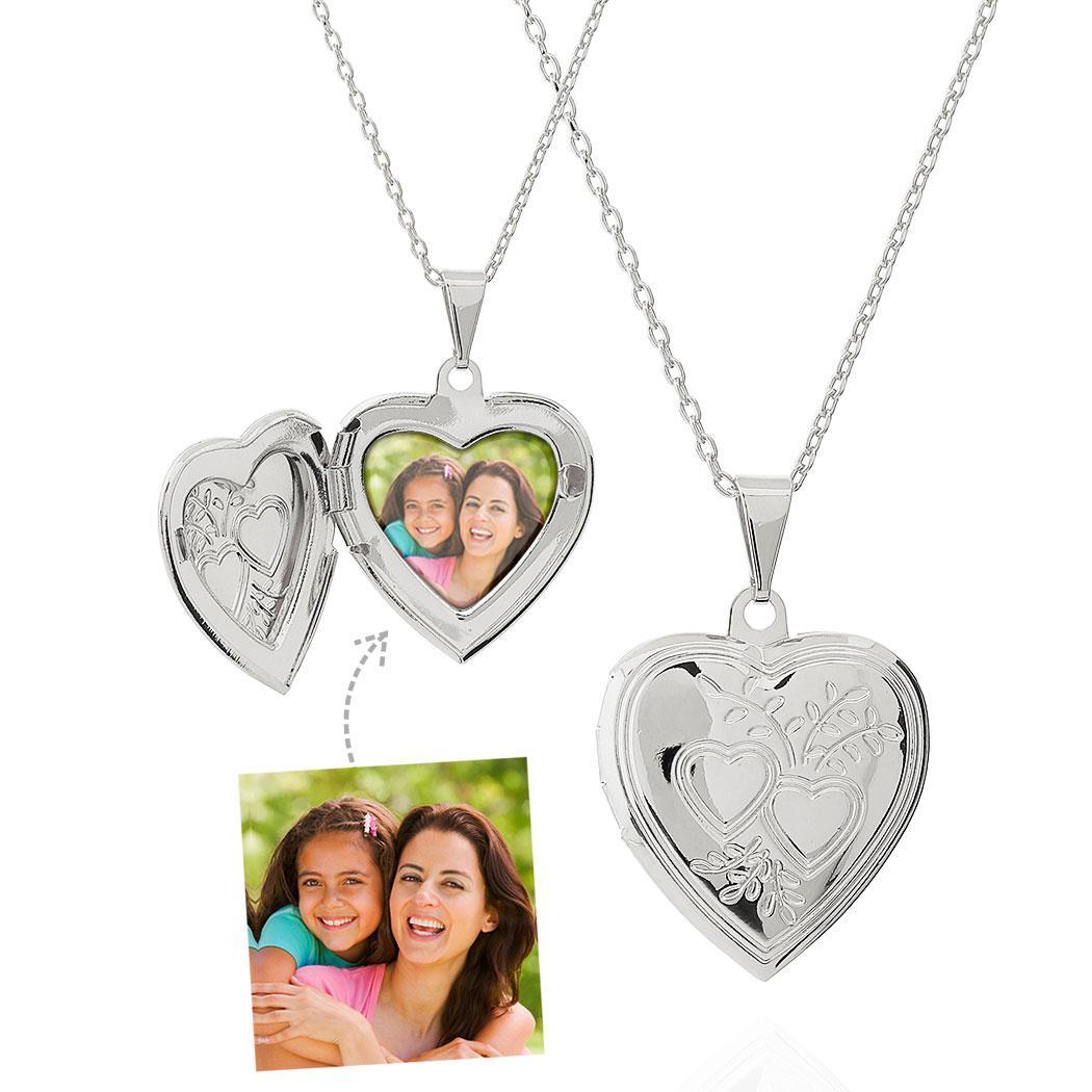 colar relicário com foto corações ródio claro