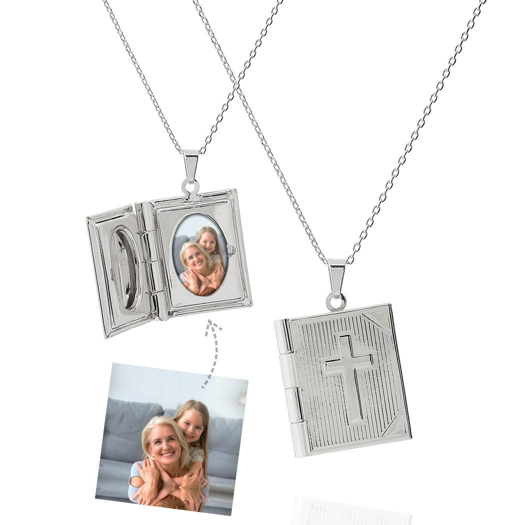 colar relicário foto bíblia crucifixo ródio claro