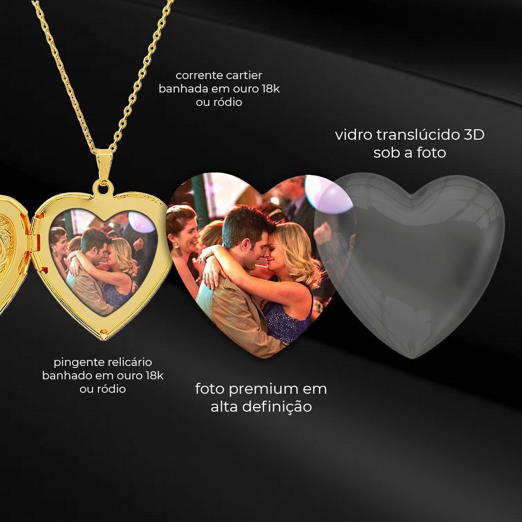 colar relicário foto coração grande arabescos dourado