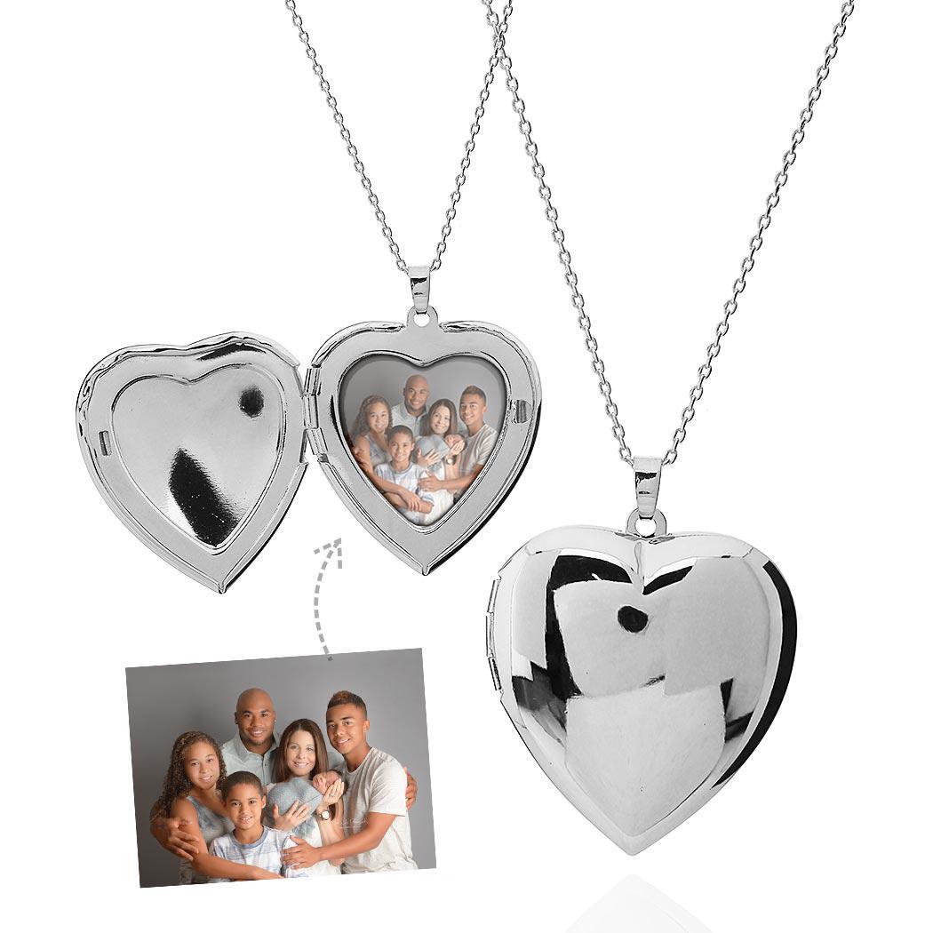 colar relicário foto coração liso grande ródio claro