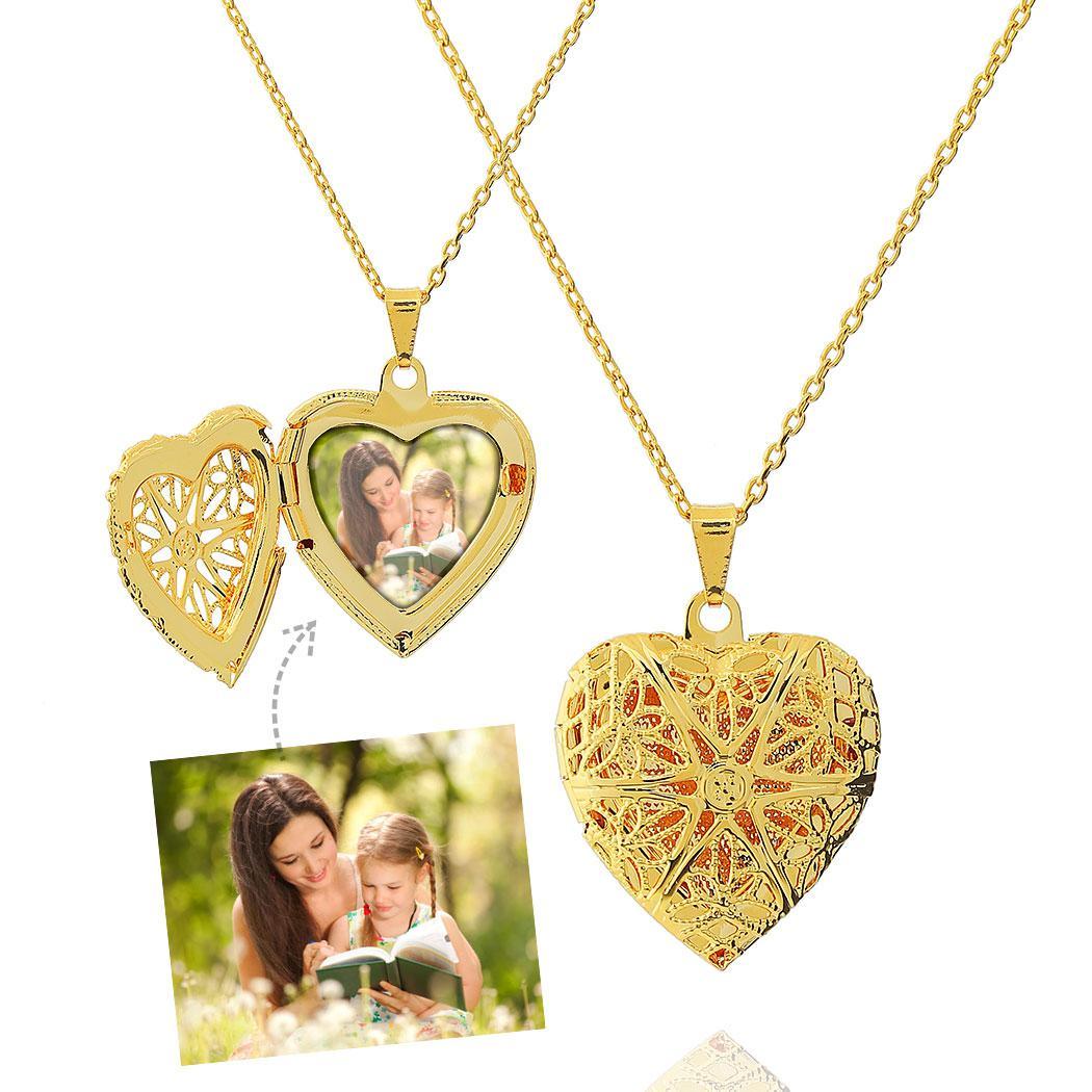 colar relicário foto coração médio dourado