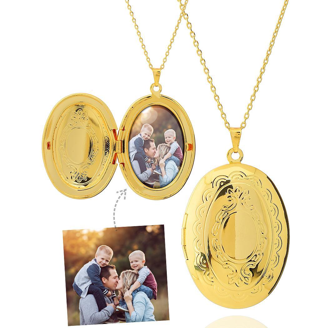 colar relicário foto oval grande dourado
