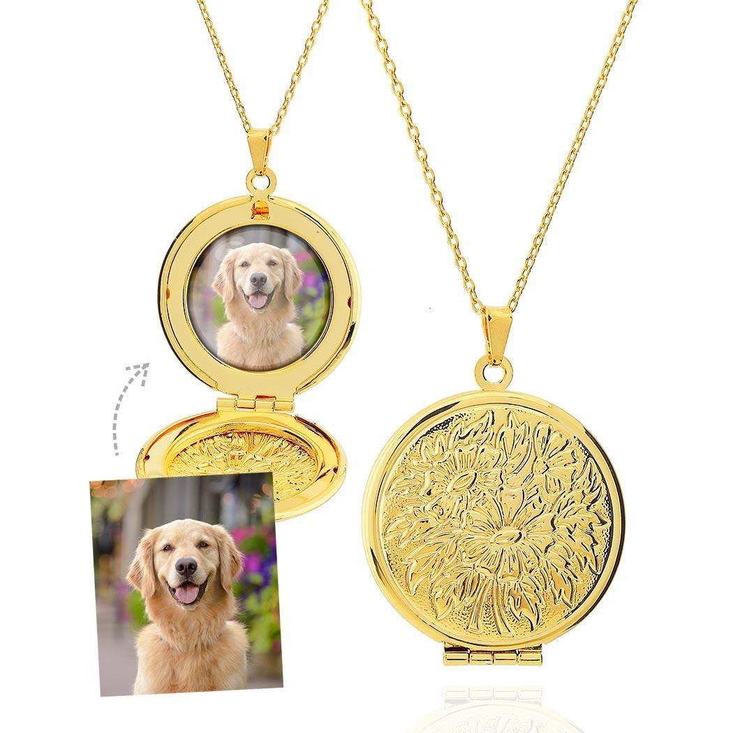 colar relicário foto redondo grande dourado