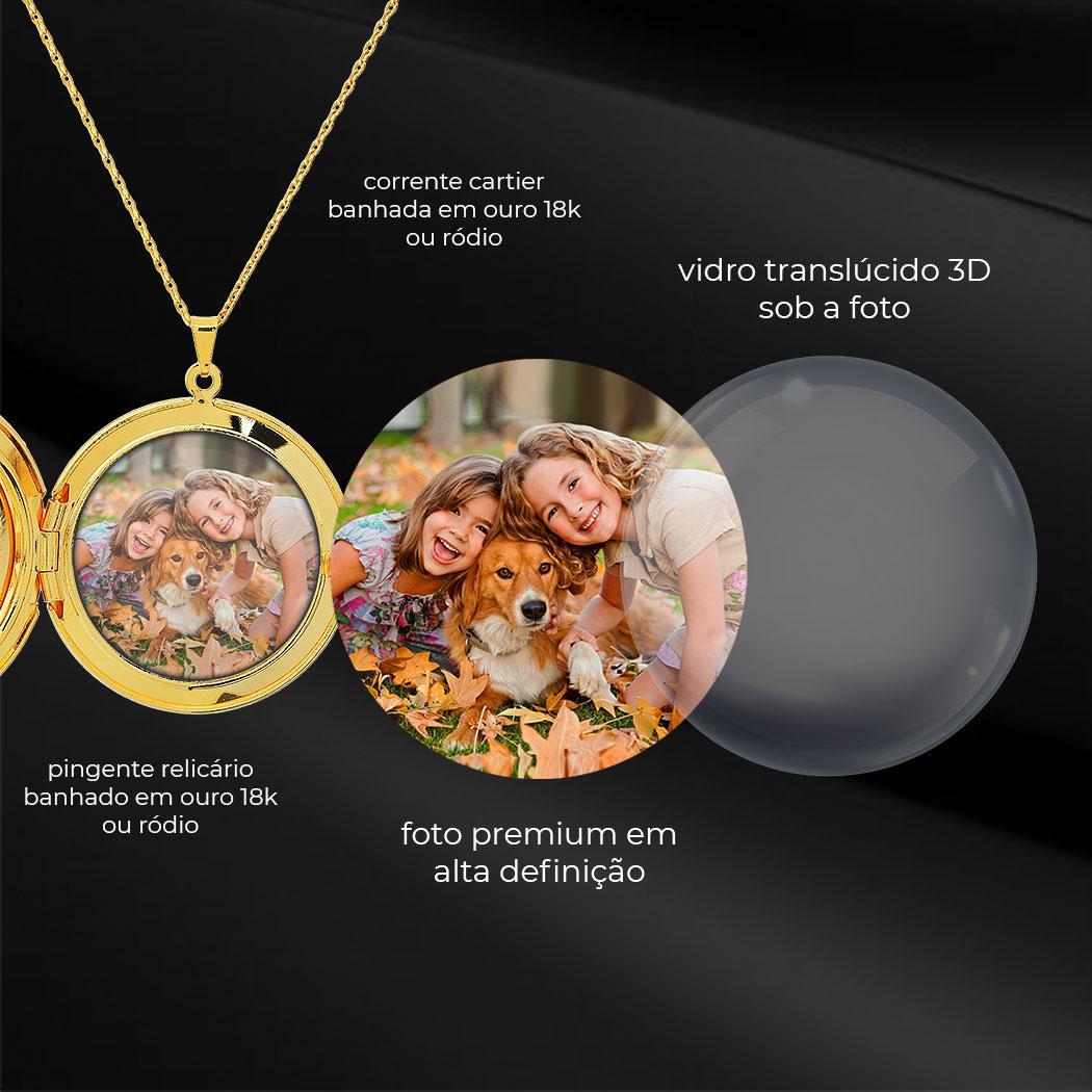 colar relicário foto redondo pequeno vazado dourado
