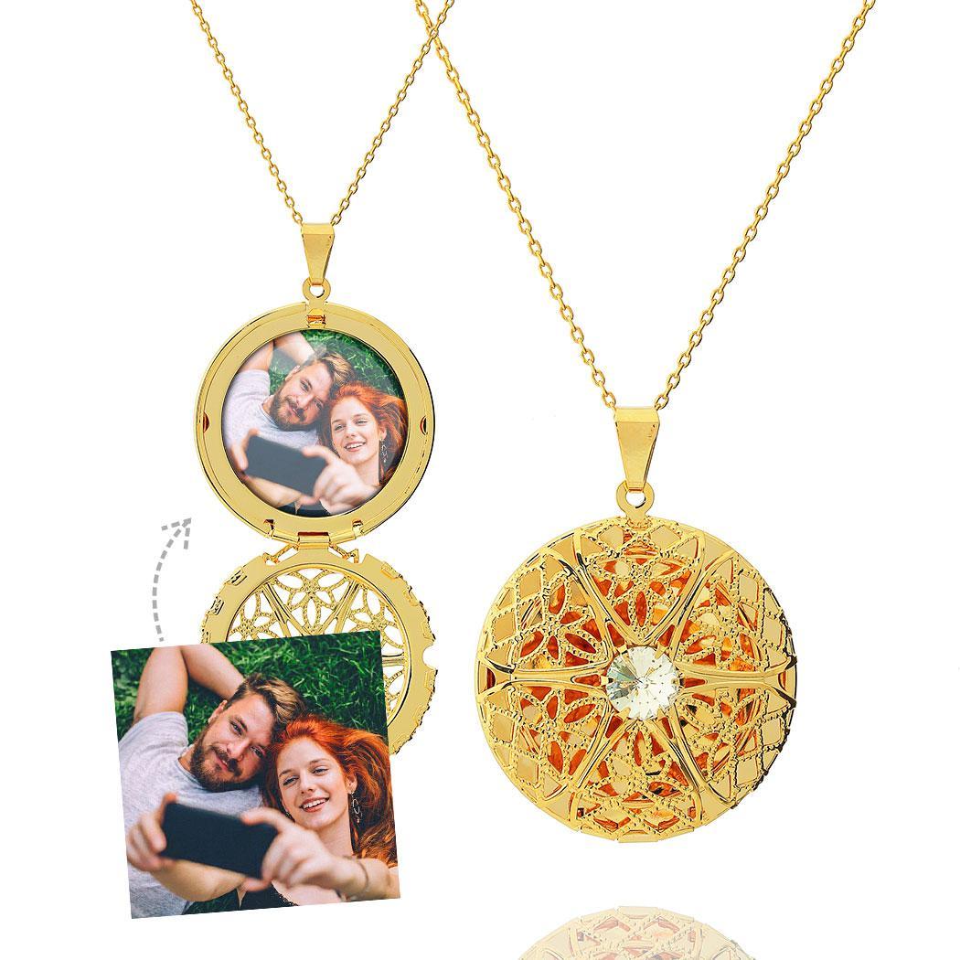 colar relicário foto redondo zircônia grande dourado