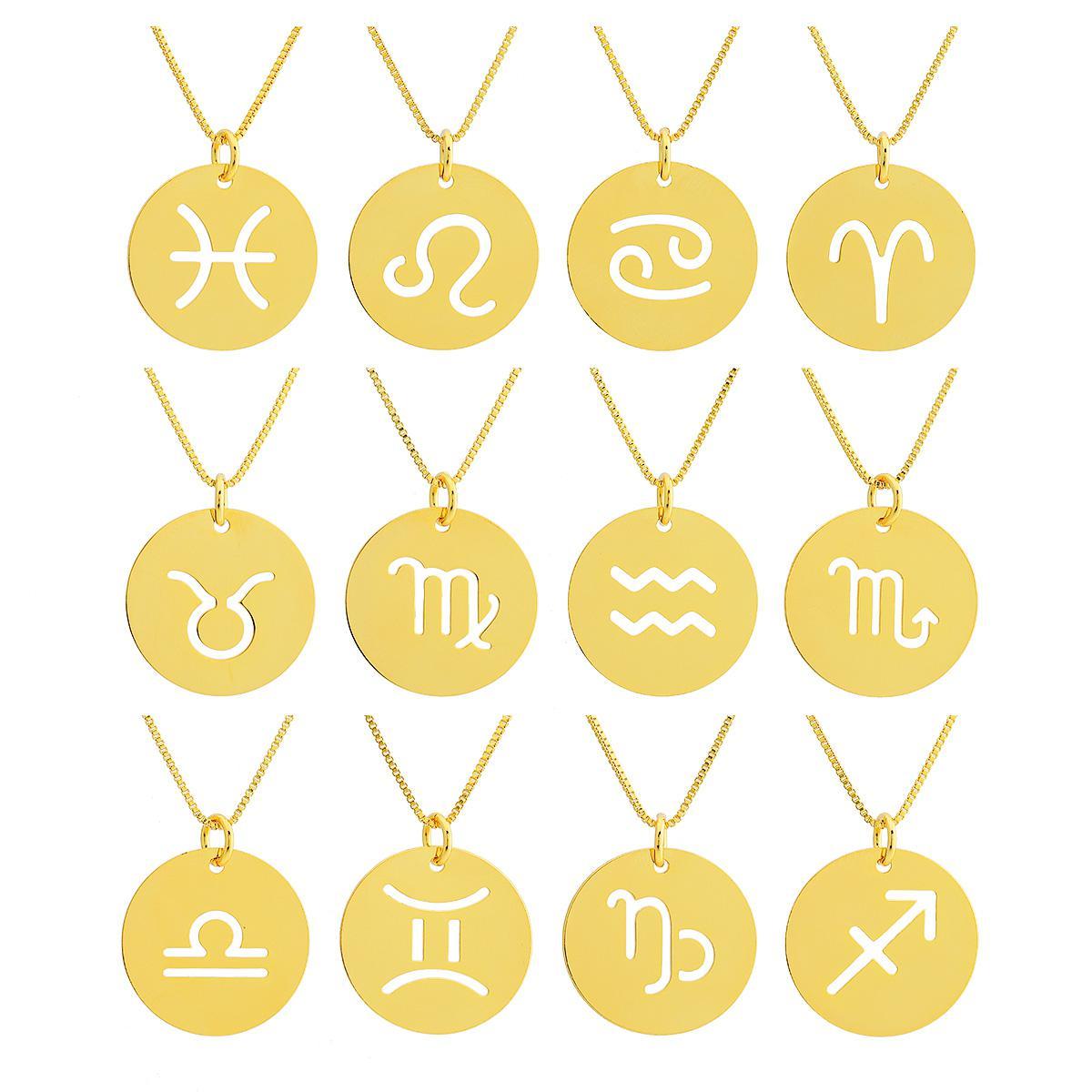 colar signo zodíaco medalha dourado