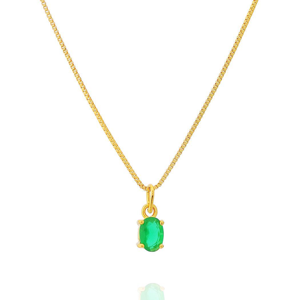 colar solitário oval zircônia leitosa esmeralda dourado