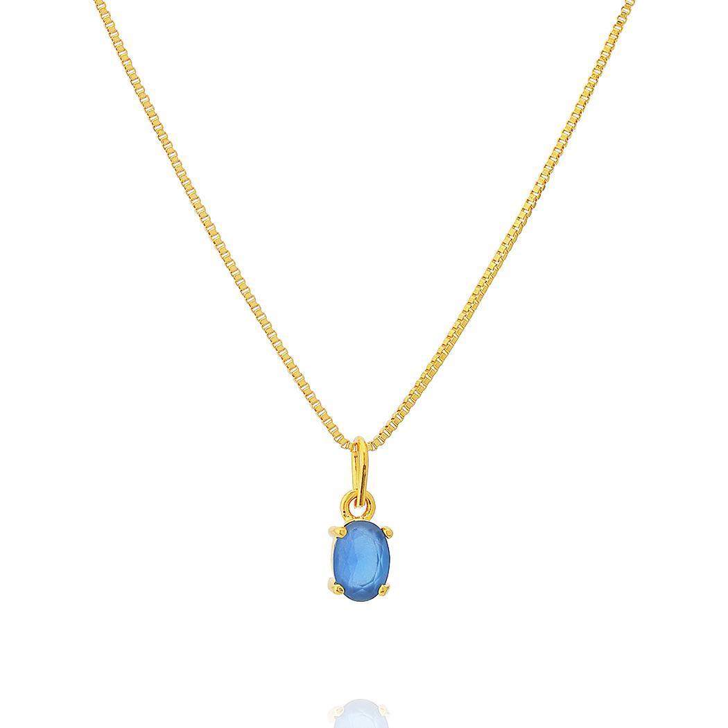 colar solitário oval zircônia leitosa safira dourado