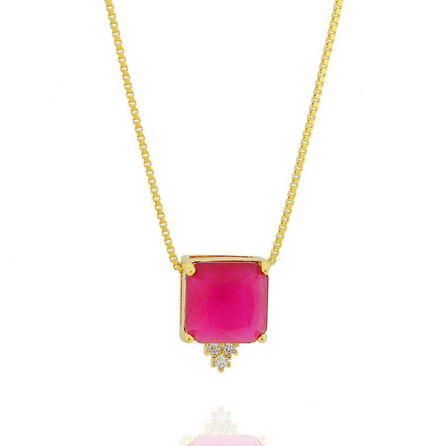 colar solitario quadrado cristal rubi dourado
