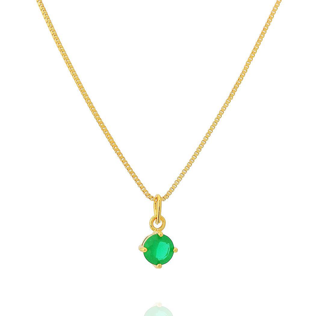colar solitário zircônia leitosa esmeralda dourado