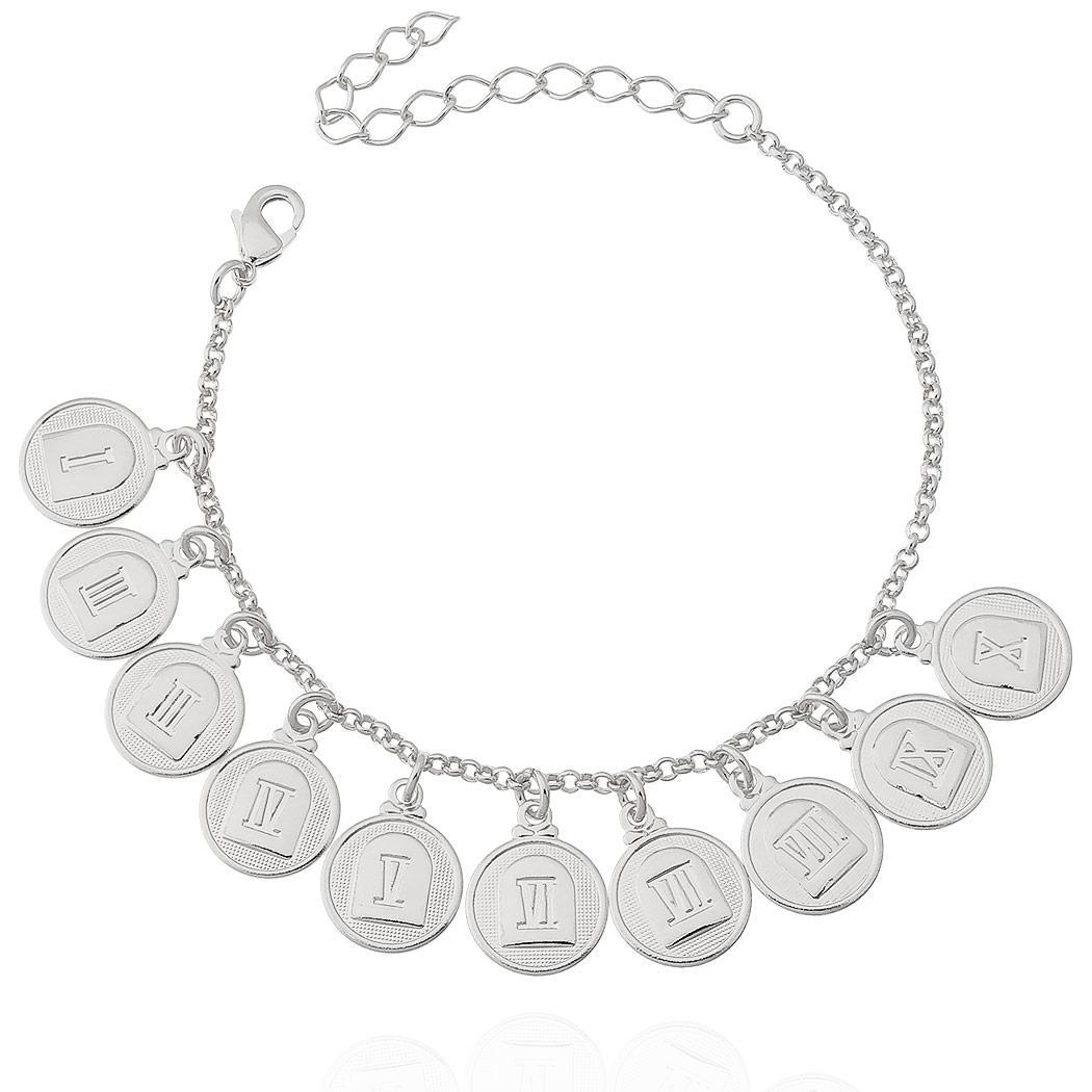 pulseira 10 mandamentos medalhas ródio claro