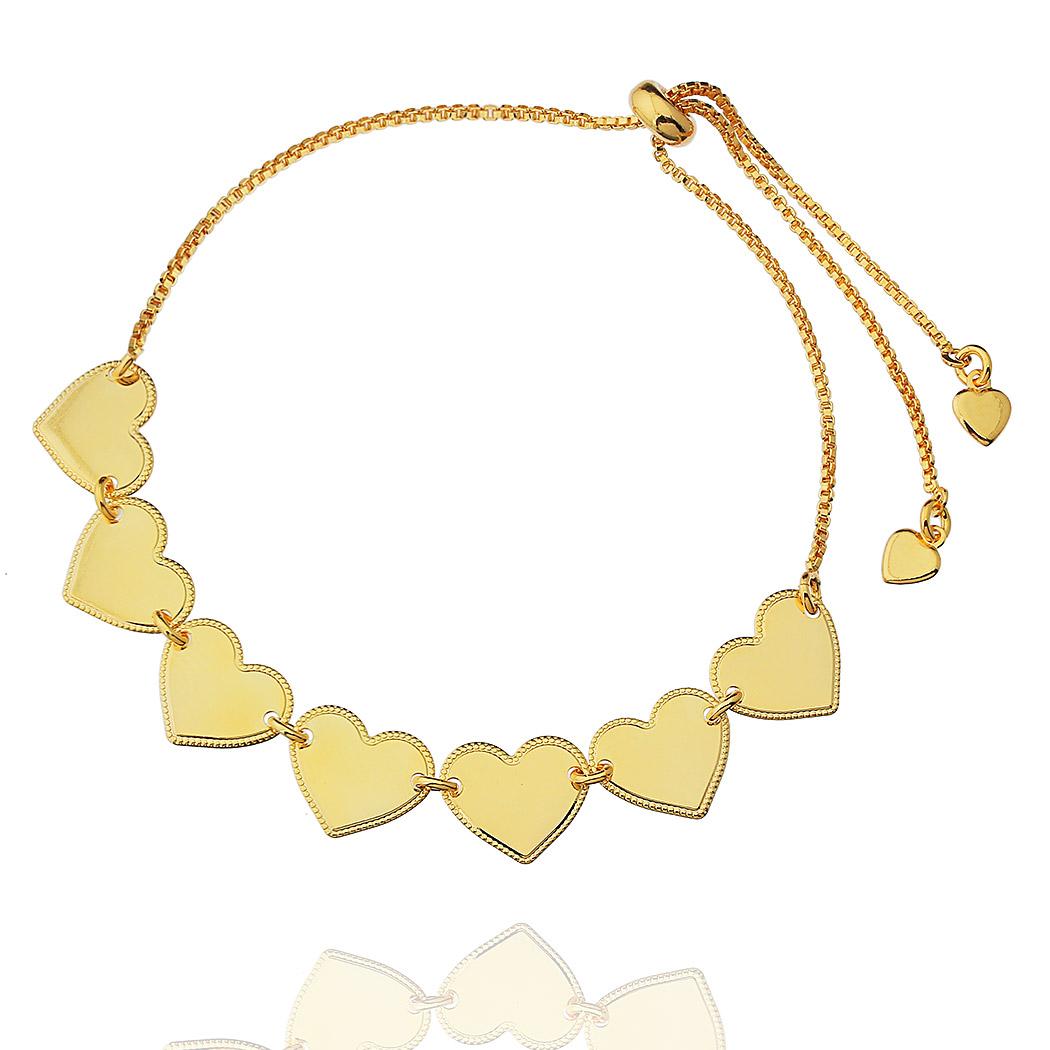 pulseira ajustável corações dourado