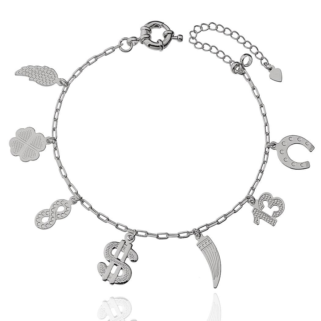 pulseira amuletos ródio claro