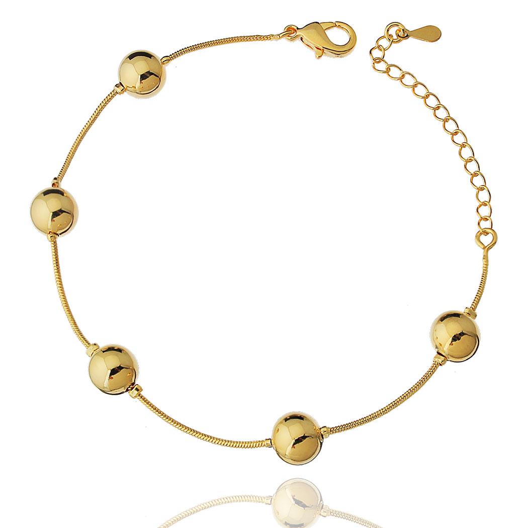 pulseira bolas grandes dourada