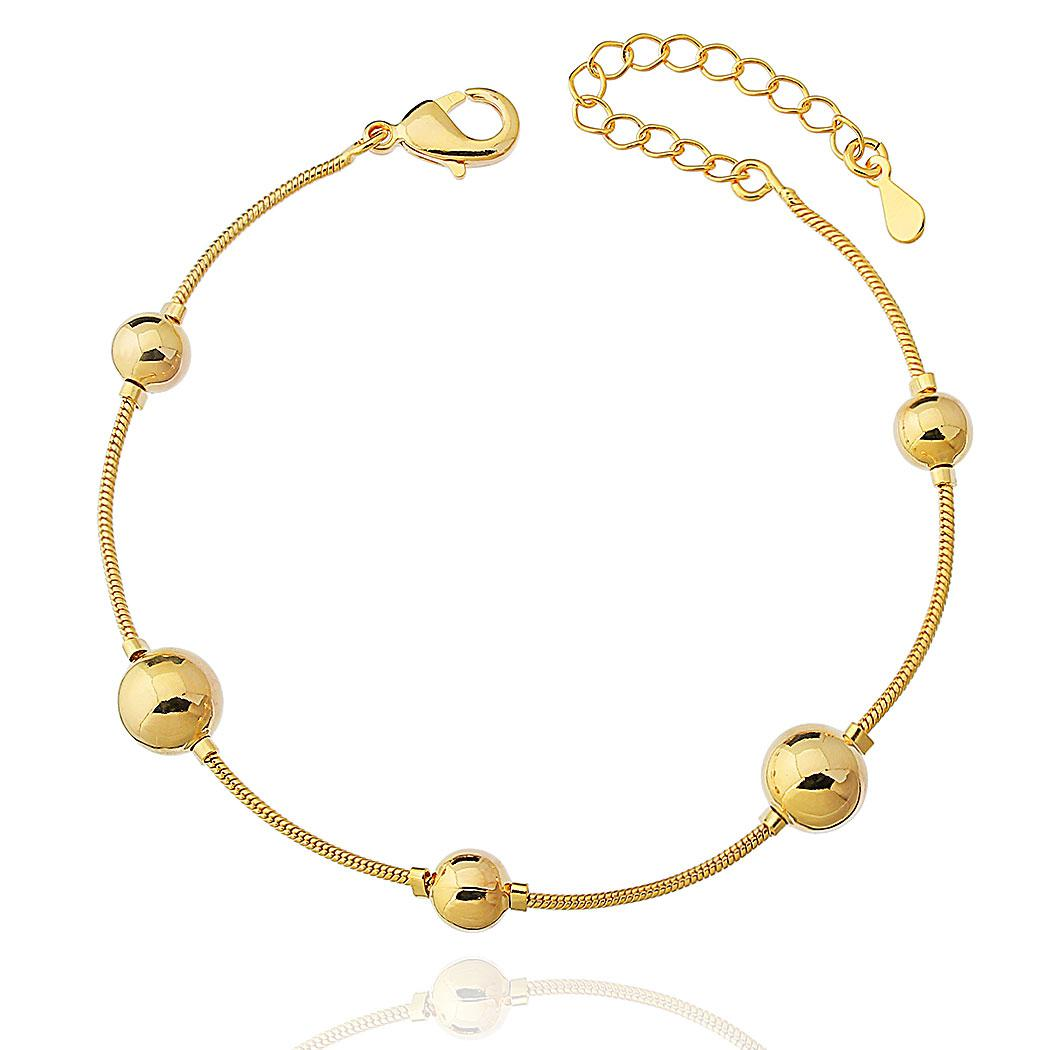 pulseira bolas grandes médias dourada