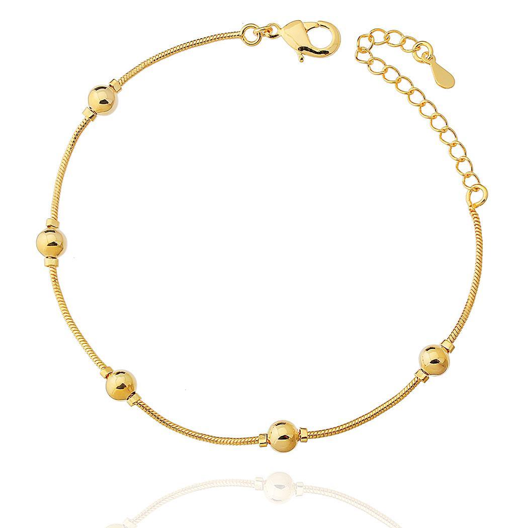 pulseira bolas pequenas dourada
