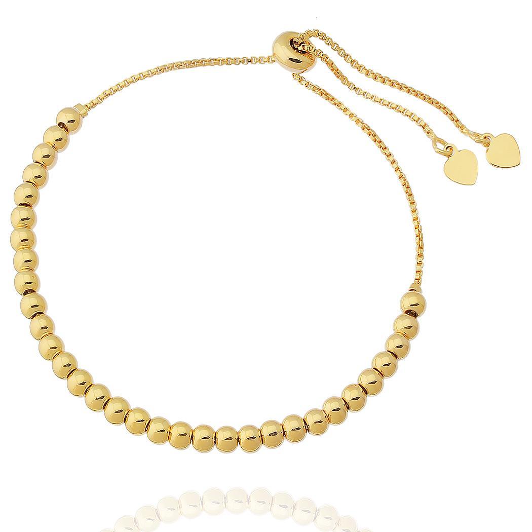 pulseira bolas regulável dourado