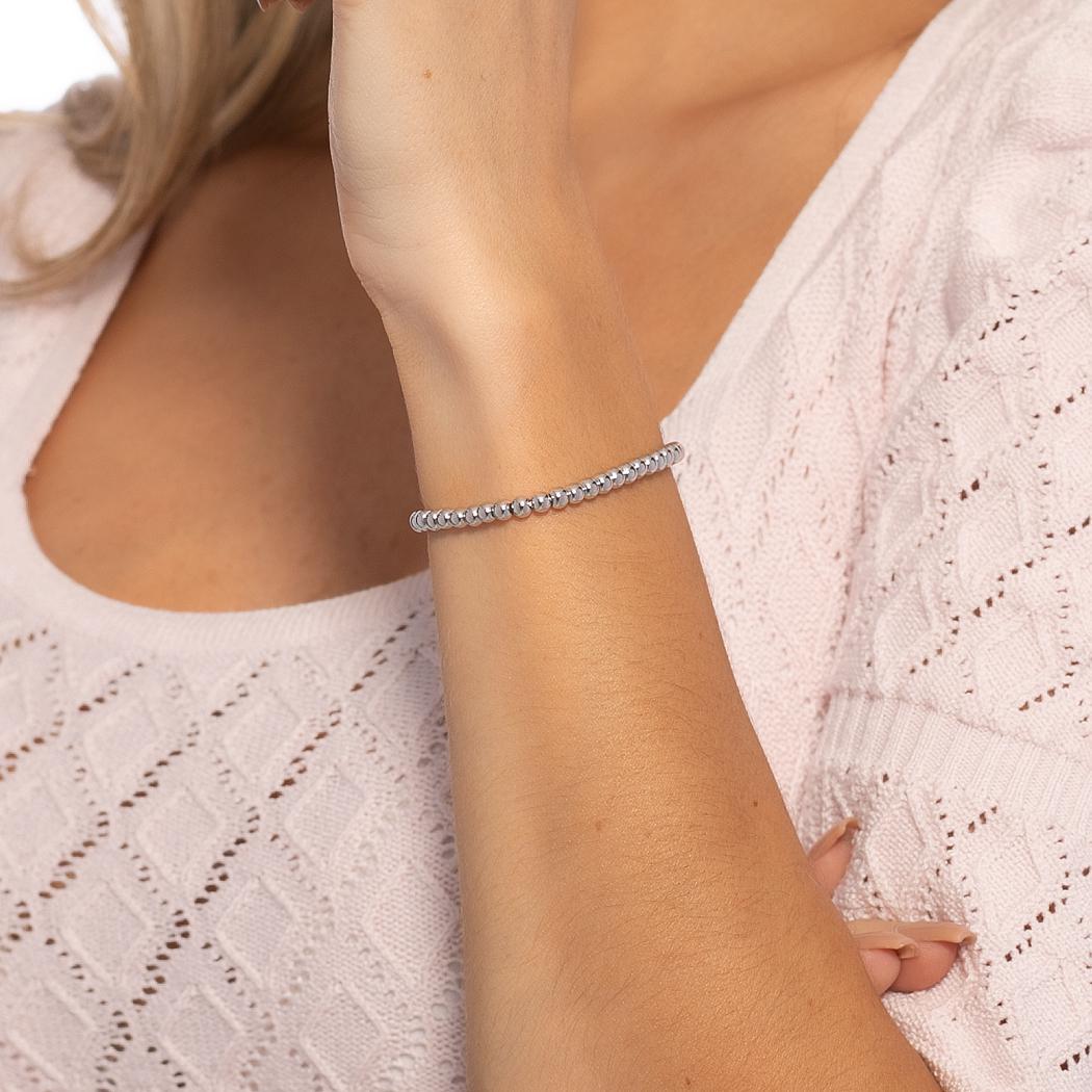 pulseira bolas regulável ródio claro
