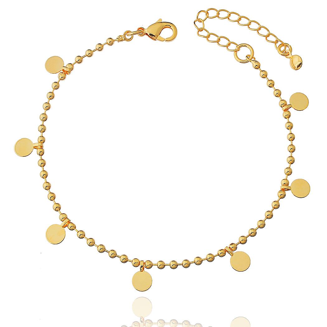 pulseira bolinhas medalhas dourado