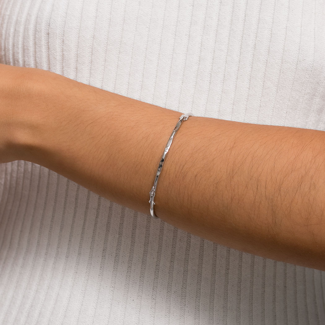 pulseira bracelete algema ródio claro
