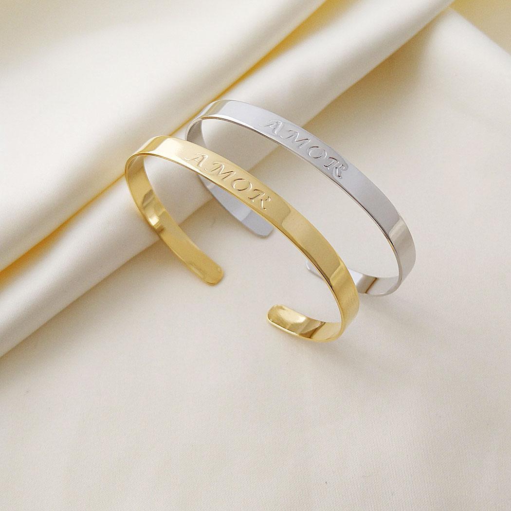 pulseira bracelete amor liso ródio claro