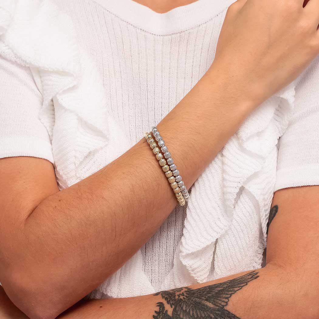 pulseira bracelete bolas ródio claro