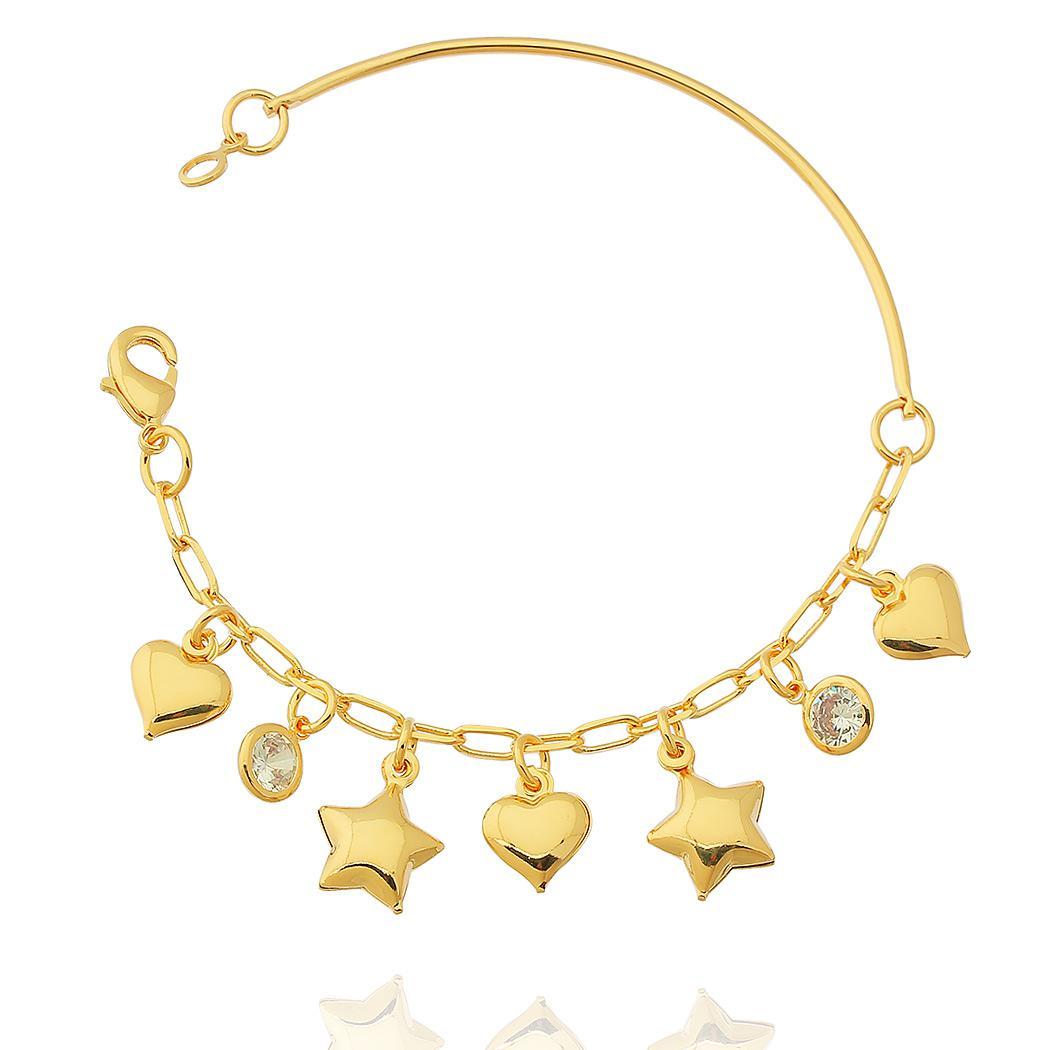 pulseira bracelete corações estrelas zircônias dourado