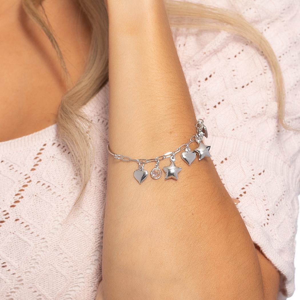pulseira bracelete corações estrelas zircônias ródio claro
