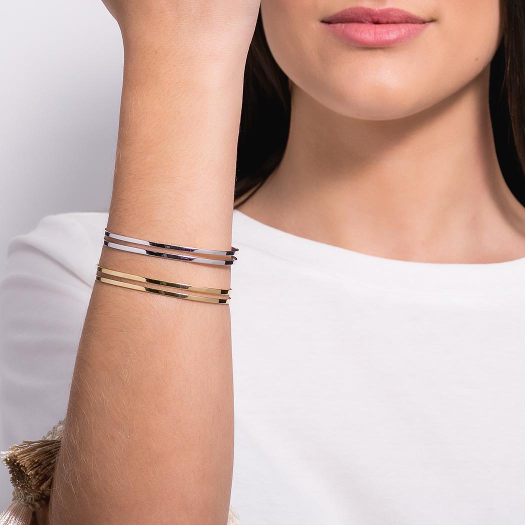 pulseira bracelete dois aros dourado
