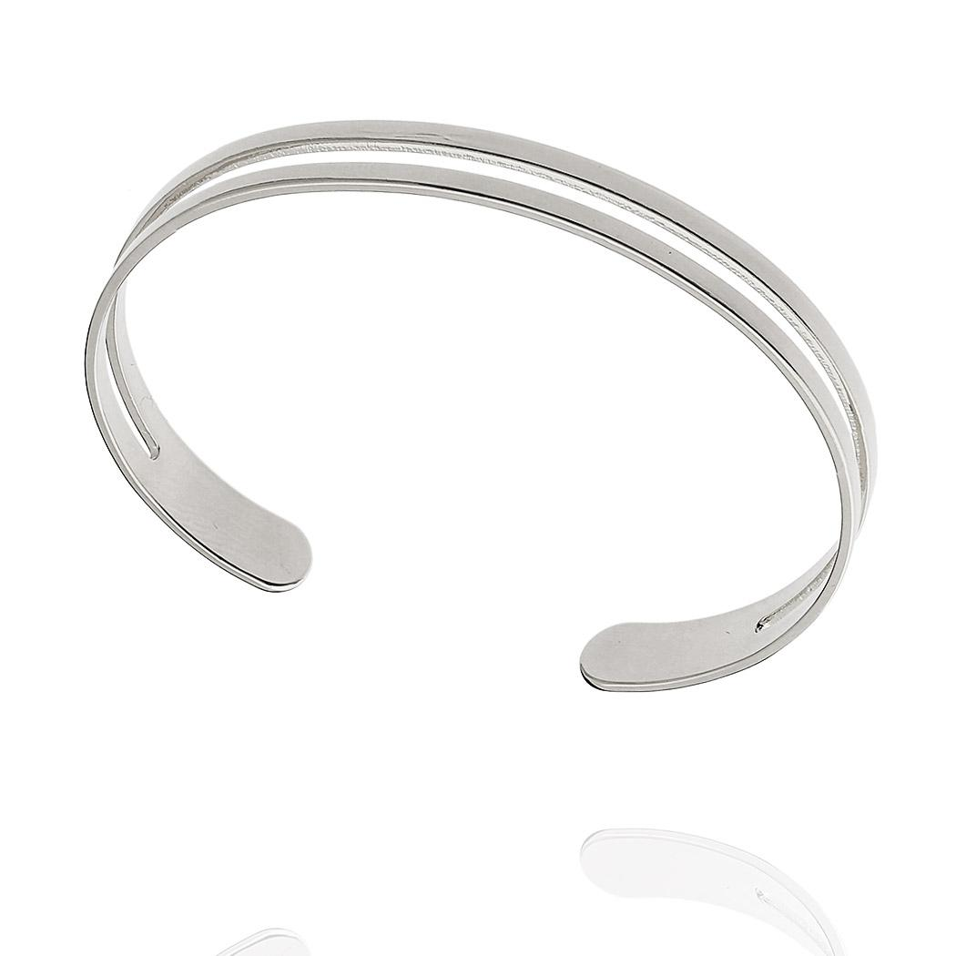 pulseira bracelete dois aros ródio claro