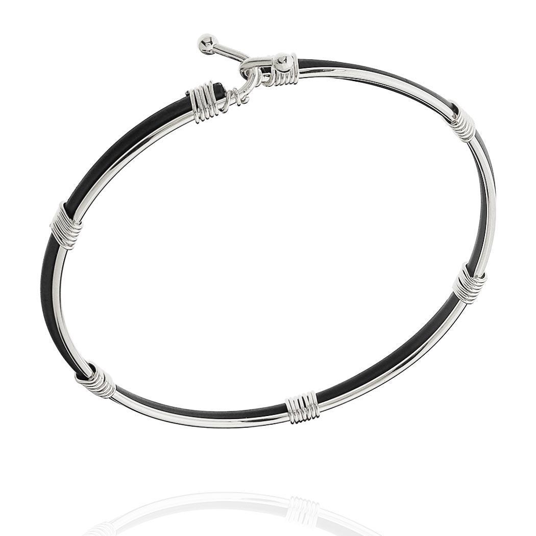 pulseira bracelete fio ródio claro