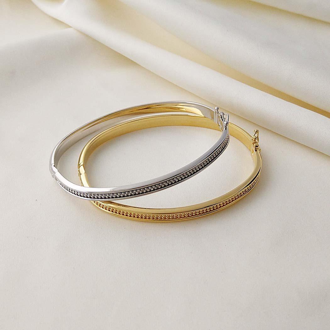 pulseira bracelete italiano bolinhas dourado