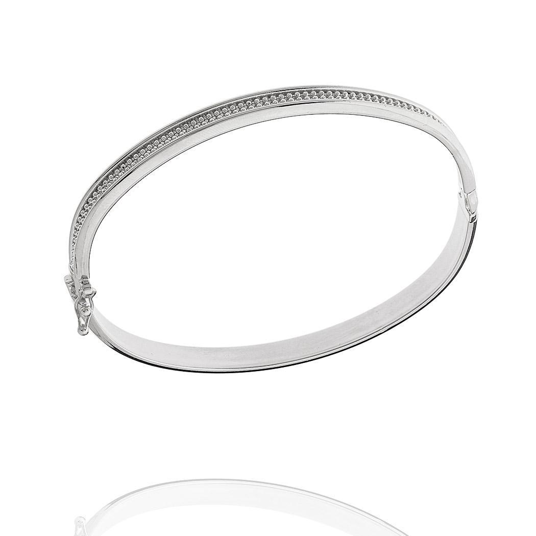 pulseira bracelete italiano bolinhas ródio claro